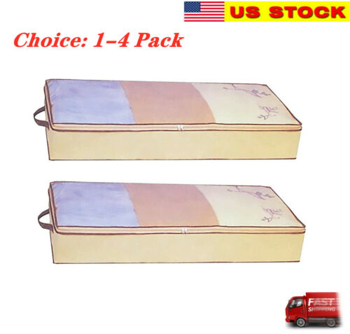 Flexible Zippered Under Bed Storage Bag Fabric Underbed Clothes Storage