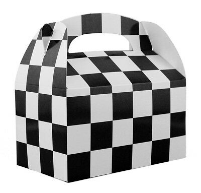 12pk Black & White Checkered Favor Treat Boxes Nascar Racecar Party Supplies