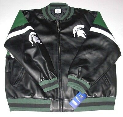 - Michigan State Spartans Faux Leather Jacket Men's size 3XL or 4XL New w/Tag
