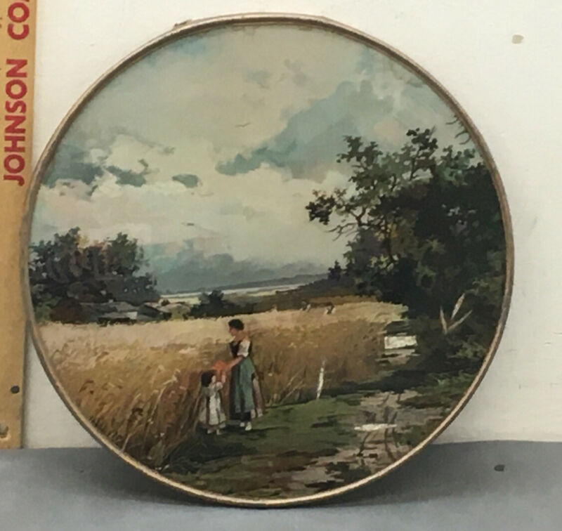 "Victorian Stove Flue Cover 9 1/4"" Woman & Child In Field."