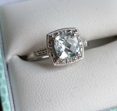 Aquamarine & Accent Diamond Vintage White Gold Design Ring for sale  Glenrothes