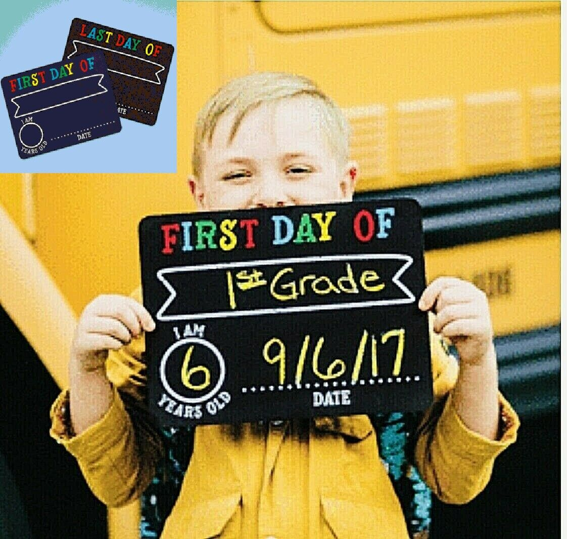 First & Last Day Chalk Signs Reusable Chalkboards 2 Chalkboards Kids Occasions Home & Garden