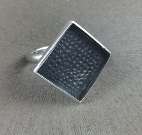 Sterling Silver Ring Blank 15mm Diamond Bezel Cab Setting Adjustable 925 Finding
