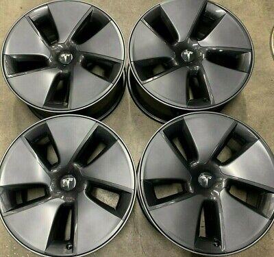 Four 2021 Tesla  Model 3 Factory 18 Wheels Hubcaps OEM Rims 104426100A