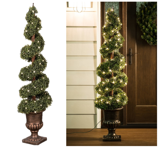 GE 5-ft Boxwood Green Artificial Christmas Tree With White ...