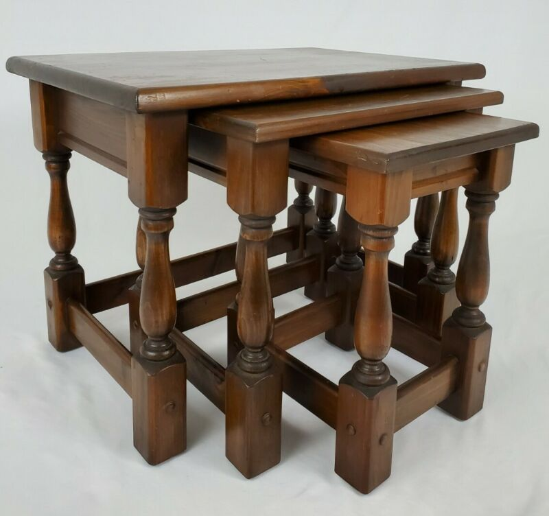 Vintage Tavern Pine Style Nesting Tables Carved Solid Wood Jacobean Set of 3