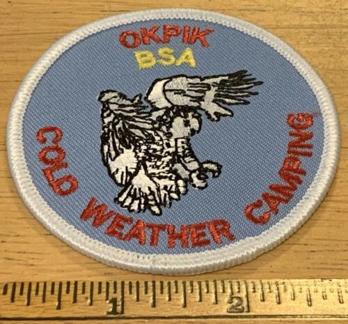 """Vintage - OKPIK Cold Weather Camping BSA 3"""" Patch - High Adventure - White Owl"""
