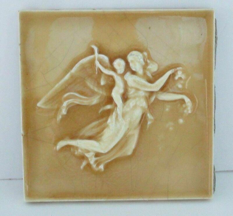 Providential Tile Works Relief Tile w/Female Angel & Putto Cherub On Her Back