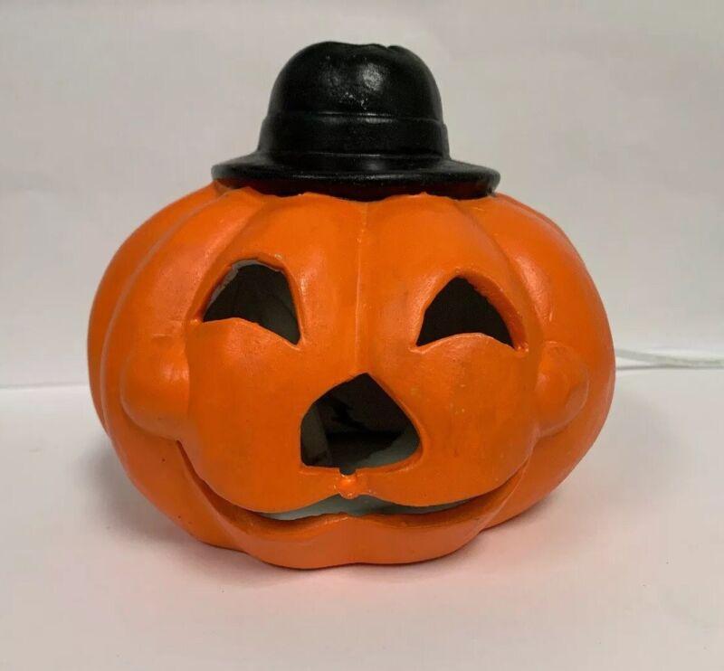 Vintage Jack O Lantern W Top Hat Hand Painted Ceramic Pumpkin Halloween Light Up