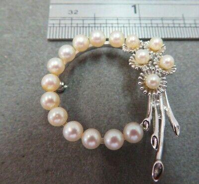 Vintage 14K White Gold Pearl Wreath Bow Design Brooch covid 19 (Pearl White Gold Brooch coronavirus)