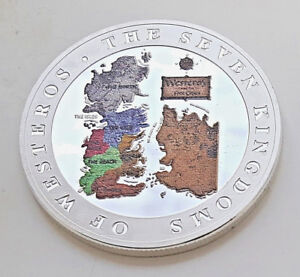 GAME-OF-THRONES-Silver-Coin-Wall-Kinights-Watch-Winter-fell-Disney-Gold-Crown-UK