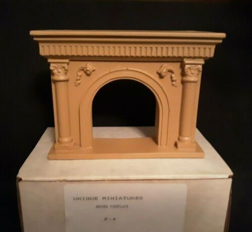 UNIQUE Miniatures Dollhouse Arched Fireplace #F-4 (NOS)