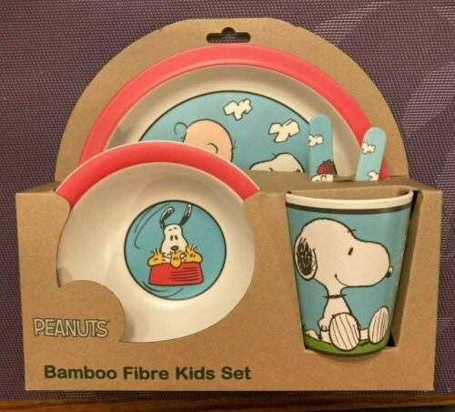 BAMBOO FIBRE KIDS 5 PIECE DINNERWARE SET - PEANUTS / SNOOPY / WOODSTOCK