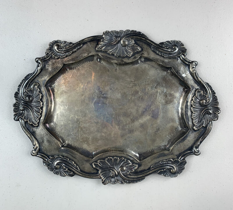 Vintage Antique Buccellati Italian 925 Sterling Silver Oval Tray Weight 818g