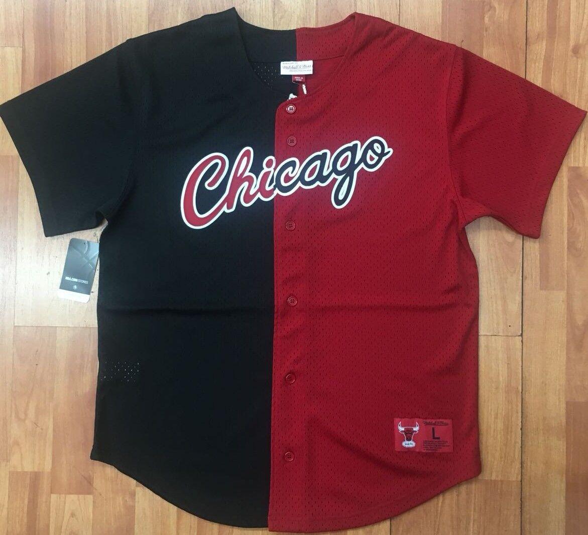 3e3d23b965c Split Black   Red Chicago Bulls Mitchell   Ness Mesh Button Down Jersey  Shirt