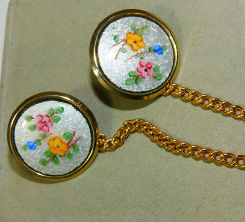Vintage Guilloche Enamel Flower Button Dress Sweater Clips Chain 3h 59