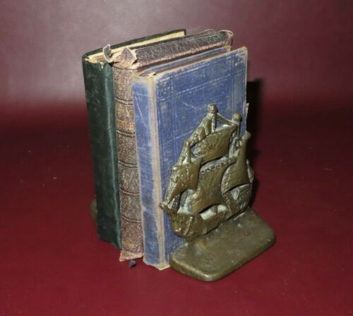 """Antique Pair Small 4.5"""" Tall English Style Solid Brass Sailing Ship Bookends"""