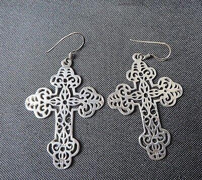 Antiqued Silver Tone Filigree Cross Dangle Earrings Fishhook Wires   #9150