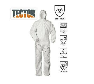 Tector Overall Einweg Schutzanzug CAT III Typ 5+6 B Asbest / Viren XXL 01-03460