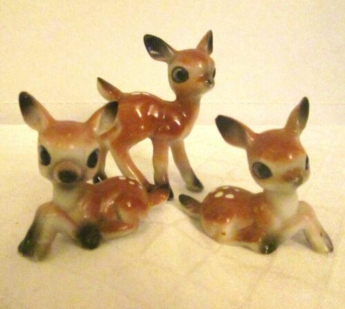 Lot 3 VTG Porcelain Big Eye Doe Deer Family Miniature Ceramic Figurines Japan