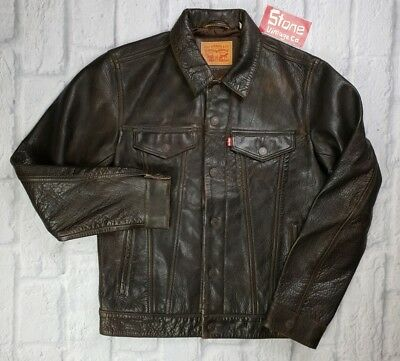 Levis Brown Buffalo Leather Trucker Jacket Capital Big-E Menlo £599 New LVC Med