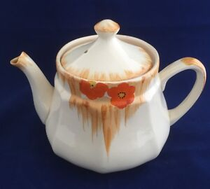 Art Deco Swinnertons (Hamptons Ivory) Teapot-Hand painted Orange Floral  Design