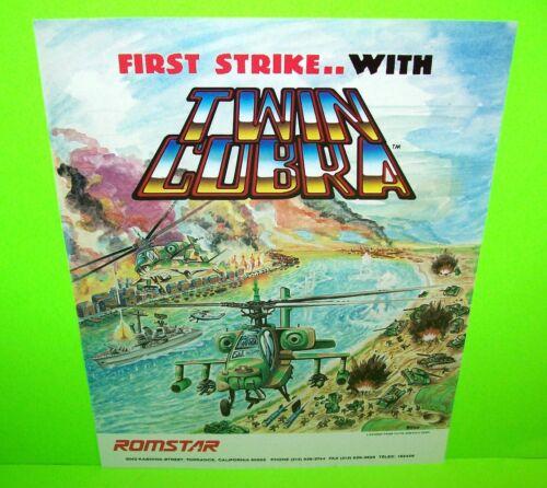 Romstar 1987 TWIN COBRA Original NOS Video Arcade Game Flyer Helicopter Battle