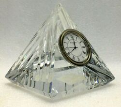 Waterford Crystal Pyramid Desk Clock 4 Paper Weight Table Heavy Glass Ireland
