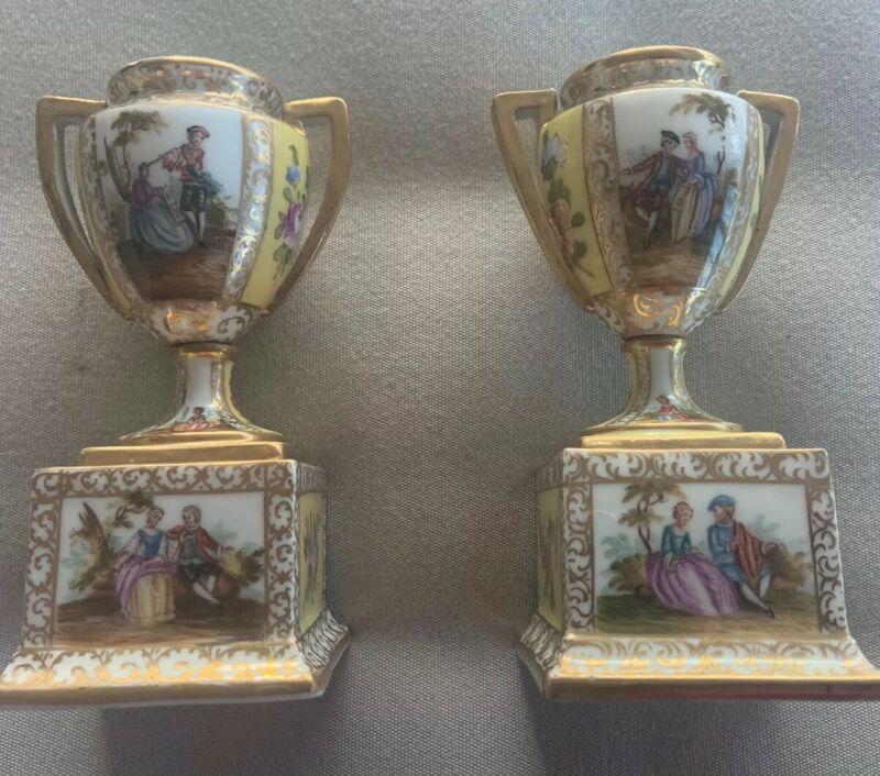 Pair German Dresden Handpainted Miniature Vases 5 In 19 Cent Gilt
