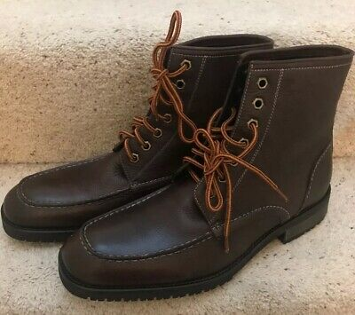 NEW MENS JOHNSTON & MURPHY BROWN LEATHER BOOTS SIZE UK 10 - US 11