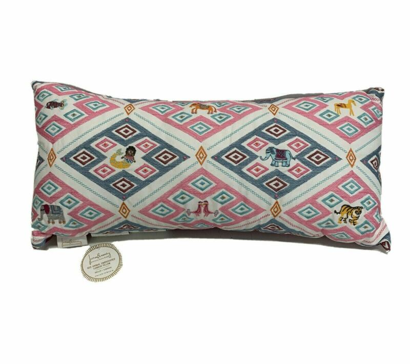 Pottery Barn Justina Blakeney Geo Animal Embroidered Lumbar Pillow 12x26 NEW wit