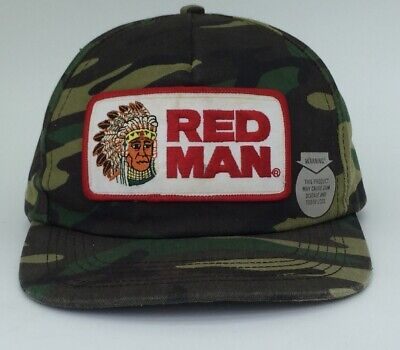80's Red Man Camo Hat Tobacco Chew  Snapback Trucker Patch USA Vintage