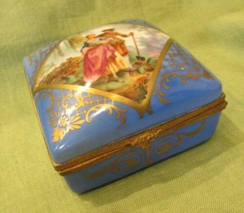 Antique Signed SEVRES Turquoise Blue & Gold French Porcelain Vanity Dresser box