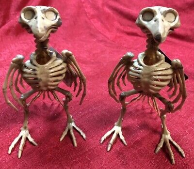 Lot Of 2 Skeleton Bird Raven Crow Plastic Halloween Decor Decoration Dead Bones