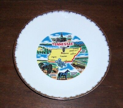 TENNESSEE Souvenir Plate - Capitol, Lookout Mountain, Walking Horse - Gold Trim