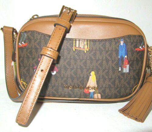 Michael Kors Jet Set Camera Belt Bag Crossbody Brown Multi Signature NWT $168