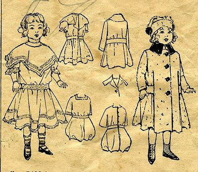 "1908 Antique Sewing Pattern Copy with Dress Coat & Rompers & Hat 18"" Doll #140"