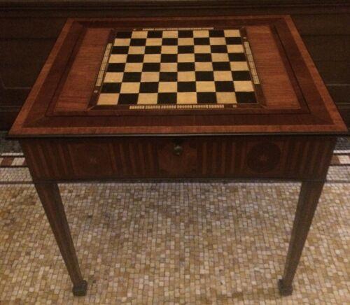 GEORGE III Amaranth Tulipwood + Ebonised Games Table chess/backgammon circa 1780