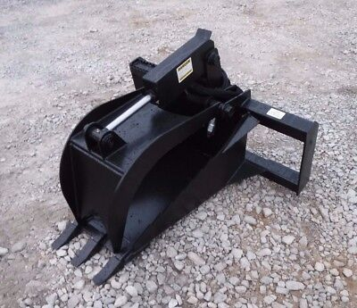 Bobcat Skid Steer Attachment - Heavy Duty Stump Tooth Bucket Grapple - Free Ship