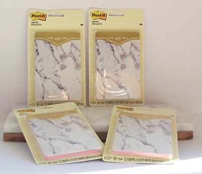 Post It Note Pad White Marble Cover 3.5 X 5.6 Pink Lined Sheets Purse Lot Of 4