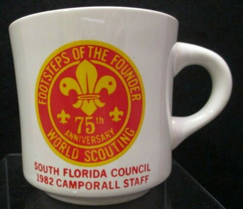Old 1982 Boy Scout Coffee Mug Cup S Florida Council 75th Anniv World Scouting