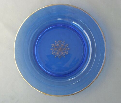 Luncheon/Salad Plate-Moderntone Pattern+Gold Snowflake & Trim-Hazel Atlas Glass