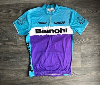 cbb81669a Bianchi 80s Cycling Jersey Vtg Racing Bike Bicycle Shirt Race Suntour DIY S  Tee