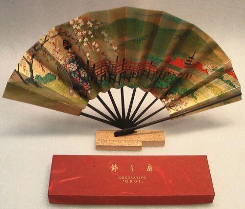 JAPANESE FAN DECORATIVE OHGI ASIAN HANDMADE GEISHA BAMBOO FAN IN ORIGINAL BOX