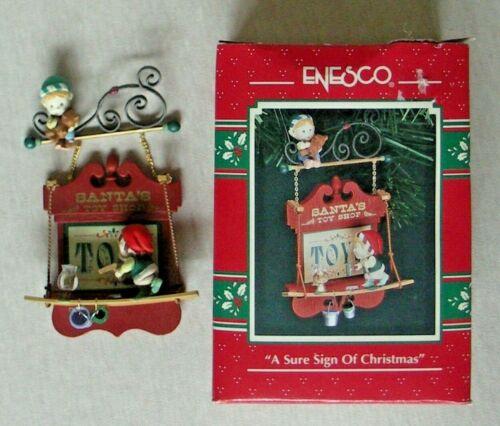 "ENESCO TREASURY ORNAMENT ""A SURE SIGN OF CHRISTMAS""  1992"