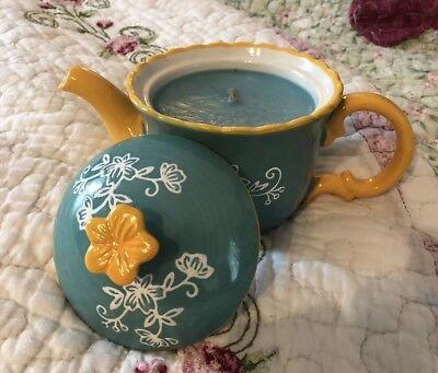 Temp-tations By Tara Floral Lace Teal Tea Pot Candle (Teal Candles)