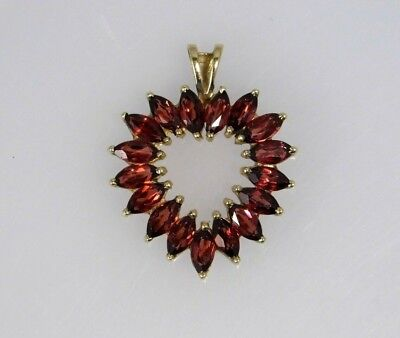 Heart Shaped Pendant with Marquise Cut Garnets 10k Yellow Gold - No Chain