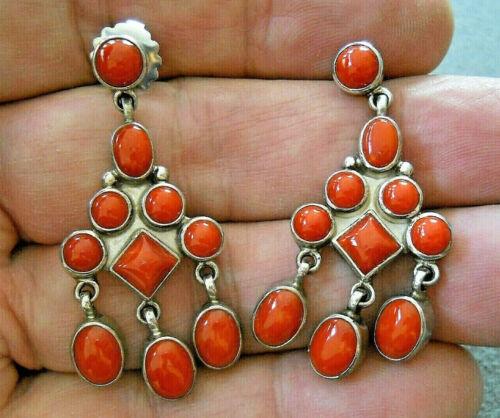 CHRIS BILLIE Navajo Mediterranean Coral Cluster Sterling Silver Earrings