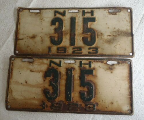 1923 New Hampshire License Plate Tag  315 pair