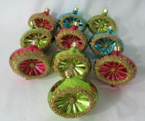 Shatterproof Vintage Style Reflector Christmas Ornaments 10 Assorted Colors GUC